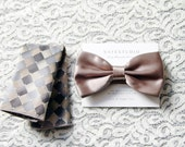 Men's Bow Tie Pre-tied Bow Tie For Men - Wedding Groom Bow Tie - Latte Brown Bow Tie Art Deco Bow Tie - Handmade Mens Gift Wedding Gifts
