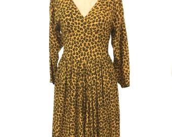 vintage 1980s fan print dress / Kenar 2 / rayon / mustard yellow black / novelty print dress / women's vintage dress / tag size 6
