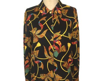 vintage 1980's LOUIS FERAUD scarf print blouse / silk / ribbons rope / novelty print blouse / women's vintage blouse / tag size 6