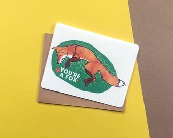 You're A Fox card   love card   i love you card   cute card   card for boyfriend   card for girlfriend   card for crush   anniversary card
