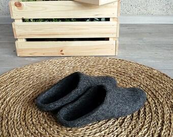 Felt slippers in dark gray felted wool from cruelty free farms