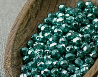 Teal Pearl Czech Fire Polished Beads 4mm (50) Opaque Round Glass Small Polish Faceted Sea Green Coated 4mm green beads last