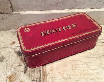 Antique Tin, Tin Box, Old Tin Box, Sewing Box, Storage Tin, Storage Box, Brother Sewing, 1930s, Red Tin Box, Prop, Props, All Vintage Man