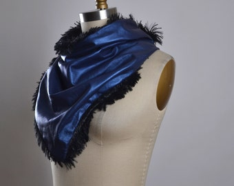 Navy Leather Neck Warmer - Fluffy Leather Neck Warmer - Girls Warm Neck Warmer - Fluffy Scarf