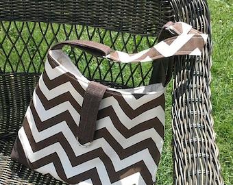 Handbag Shoulder Tote in Brown Chevron and Cream