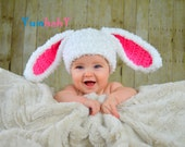 Bunny hat, Easter hats for girls, baby hat, white and pink fluffy bunny rabbit hat with floppy ears