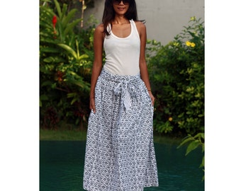 Maxi Skirt, Black and White Long Skirt, Geometric Skirt with Sash, Black and White Maxi Skirt, Elastic Waist