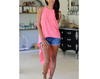 Coral Hi-Low Top /  Sleeveless Top / Womens Tops/ Summer Tops