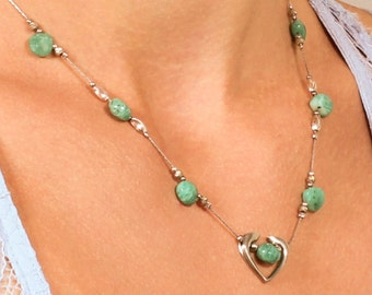 Russian Amazonite Necklace, Sterling Silver Heart necklace, fine necklace with green gemstone, gift for her, elegant delicate, NL1091