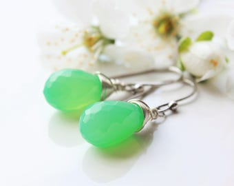 Chrysoprase Earrings, Sterling Silver wire wrap, mint green gemstone, simple dangle earrings, minimalist earrings, holiday gift for her