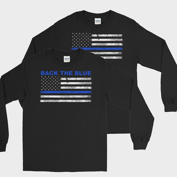 Thin blue line long sleeve t shirt front or back print for Thin long sleeve t shirts