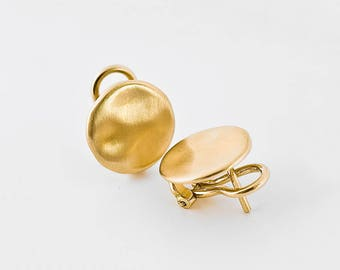 Large Gold Earrings, Simple Gold Earrings Studs 18k Solid Gold, Gold Nugget Earring, Large Stud Post Earrings Clip On Studs