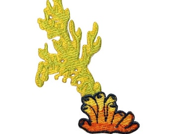 ID 0348 Tropical Coral Flumes Patch Sea Life Embroidered Iron On Applique