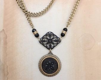Antique Button Necklace Long premium Vintage Chain, Victorian Black Glass & Filigree Focal, Original Design Antique Button Jewelry veryDonna