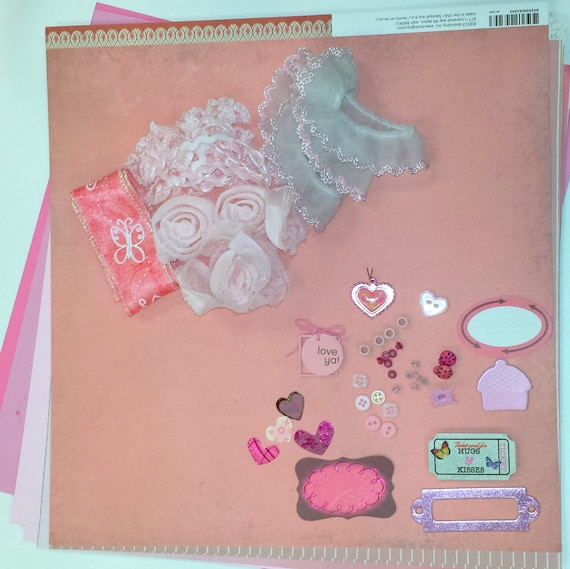 MIXED MEDIA Kit - Pink - 10 12x12 scrapbook paper / Ribbon / Buttons / Chipboard / Brads