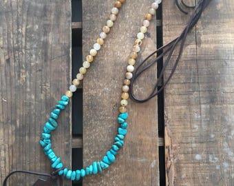 SALE-Rustic Western Boho Necklace with Thunderbird, Turquoise, Multi Quartz, Fringe, Leather Necklace