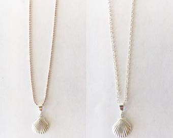 Dainty Scallop Shell Sterling Silver Necklace