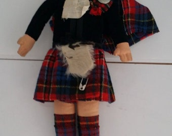 Vintage Norah Wellings Cloth Scottish Doll - Bonnie Lass, Scotland Girl in Tartan Kilt with Tam, Sporran, Handpainted Face, Made in England