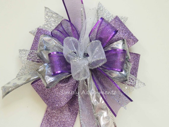Whimsical Purple Silver Christmas Bow Funky Purple Silver Christmas Bow Christmas Lantern Bow Purple Silver Tree Topper Wreath Bow Gift Bow