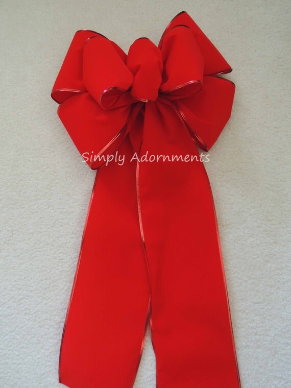 """12"""" Traditional Red Velvet Christmas Bow Large Red Velvet Holiday Bow Red Velvet Christmas Bow Large Red Wreath Swag Bow Large Red Gift Bow"""