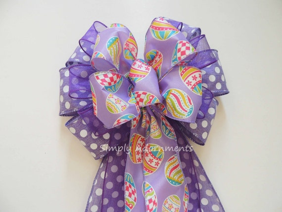 Purple Easter Wreath Bow Purple Easter Door Hanger Decoration Purple Easter Baby Shower Decor Purple Lavender Easter Gift Basket Bow