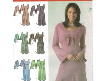Simplicity 4483 Dress Sewing Pattern Empire waist Scoop neck Dress Pattern, Jacket Pattern, Misses & Petites Size 8 ~ 16 Bust 31 ~ 38 UNCUT