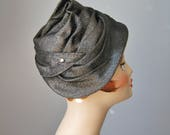 Black Folded Fabric Hat /...