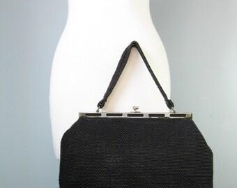 Black Beaded Frame Bag / Vtg 50s / Top Handle Black Beaded Frame Bag