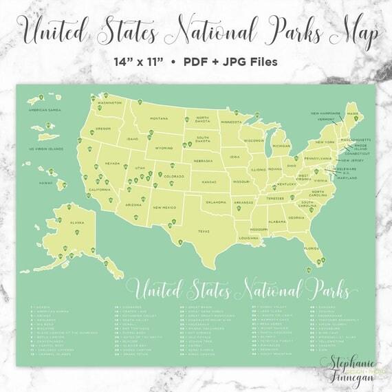 National Parks Map US National Parks Printable National - Us national parks map pdf