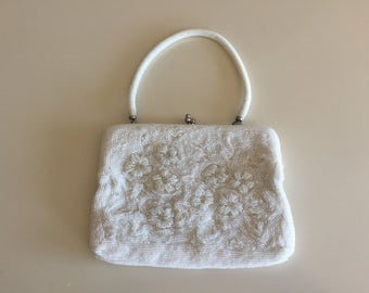 Vintage 40s White Glass Beaded Flower Purse