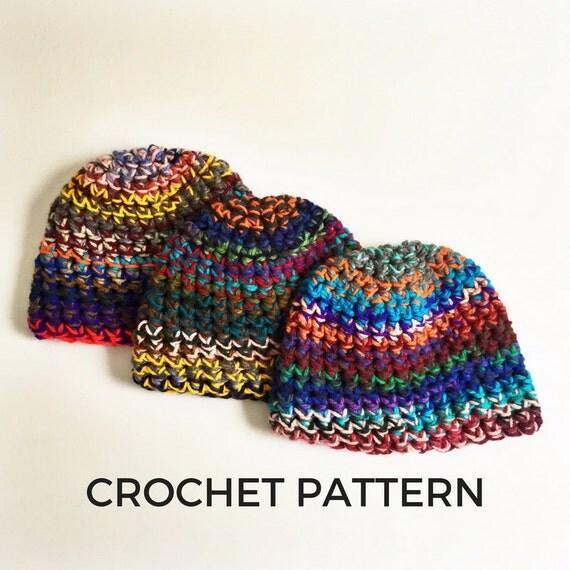 Crochet Patterns Using Scrap Yarn : Crochet Pattern- Scrap Yarn Beanie Crochet Pattern- Stash Buster ...