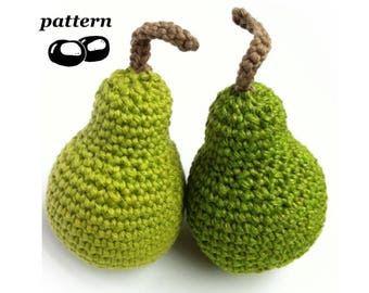Crochet Pear Pattern / Crochet Fruit Pattern / Crochet Food Pattern