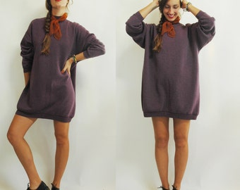 1980s Deep Lavender Purple Oversized Sweatshirt Dress