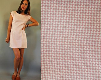 1980s Dusty Pink Houndstooth Mini Dress