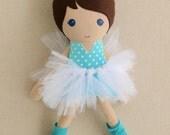 Fabric Doll Rag Doll Brown Haired Girl in Aqua Polka Dotted Top, Tutu, and Leg Warmers