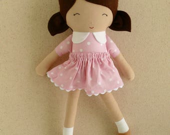 Fabric Doll Rag Doll Small 15 Inch Doll with Brown Hair and Pink Polka Dotted Dress Shirt