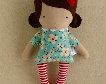 Fabric Doll Rag Doll Small Mini Doll 10 inch Doll with Brown Hair in Aqua Floral Dress with Red and White Striped Stockings