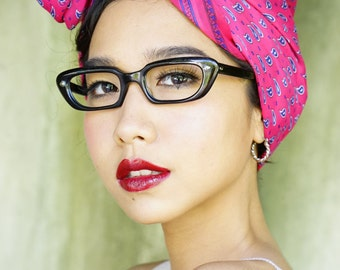 Vintage Eyeglass Cat eye glasses 1960's Made In Ireland Metallic ruby Red New Old Stock Cute Cheap