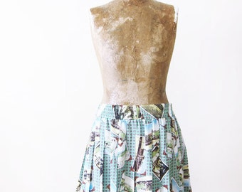 Pleated Mini Skirt / Pleated Skirt / 90s Skirt / Tennis Skirt / Novelty Print Skirt / Short Skirt / Elastic Waist Skirt / Mint Green Skirt