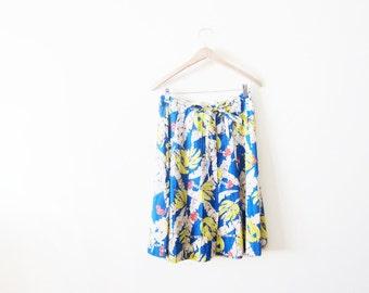 Banana Print Skirt / Vintage Novelty Print Skirt / Tropical Island Vacation Skirt / Button Front