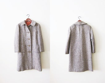 Tweed Coat / 60s Brown Tweed Jacket / Vintage 60s Woman Coat / Wool Winter Coat / Small