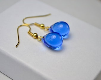 Royal Blue Earrings, Sapphire Blue Drop Earrings, Glass Bead Jewelry, Teardrop Earrings, UK, Birthday Gifts for Women, Small Gifts for Her