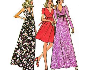 "1973 Shaped High Midriff Dress in Maxi or Above Knee Lengths, Deerp V-Neckline, Sleevless, Short/Long Sleeve Options, McCall's 3643 Bust 36"""