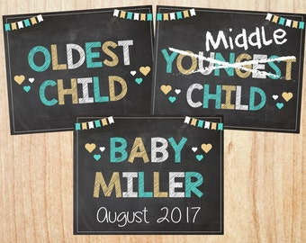 Baby #3 Pregnancy Announcement PRINTABLE Siblings New Baby Chalkboard oldest child middle youngest big brother sister 3 three