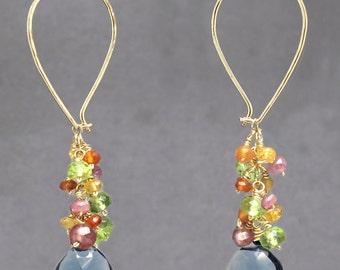 Teardrop cluster hoop earrings pink ruby, citrine, vessonite, london blue quartz, Carnivale 52