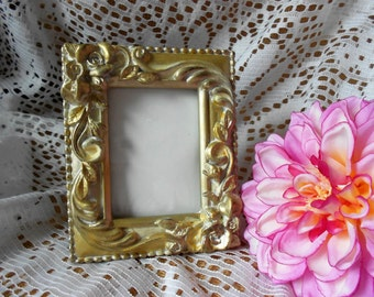 Small vintage picture frame plaster filigree  ornate gold and cream, roses and leaves.