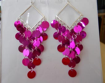 Silver Tone Layered Earrings with Pink Disc Dangles