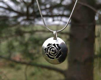 Rose Flower Sterling Silver Essential Oil Necklace. Hand Cut Rose Flower Silver Pendant. Aromatherapy Diffuser Necklace. Ready to Ship.