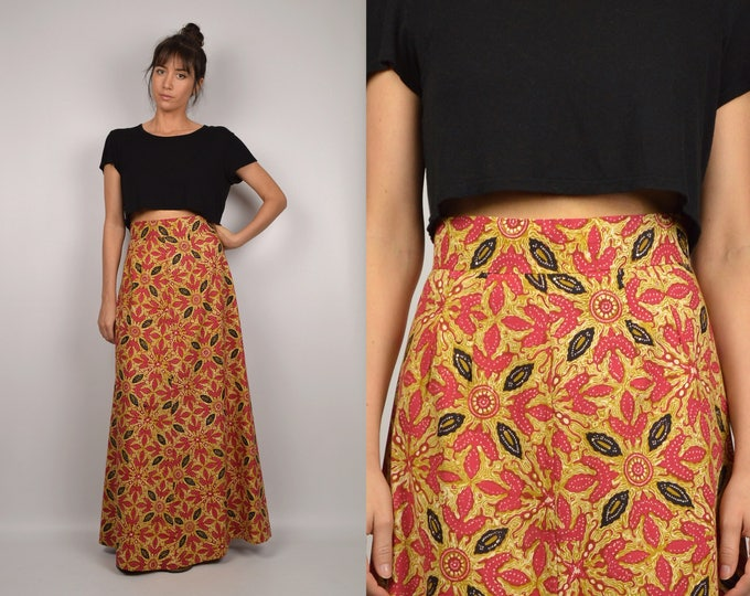 70's Batik Print High Waist Maxi Skirt