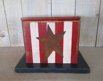 Handmade Box - Uncle Sam Hat, Wood Box, Centerpiece, Patriotic Decor, Handpainted Box, Red White and Blue